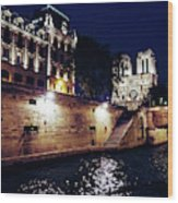 View Of Notre Dame From The Sienne River In Paris, France Wood Print