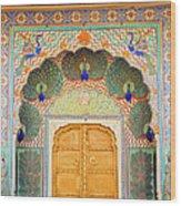 View Of Peacock Door In Palace Wood Print