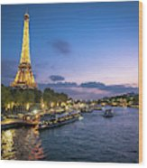 View Of The Eiffel Tower During Sunset From The Scene River Wood Print
