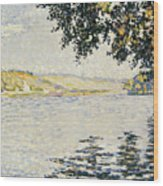 View Of The Seine At Herblay     Wood Print