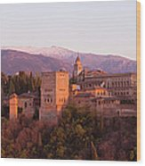 View To The Alhambra At Sunset Wood Print