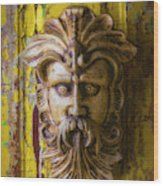 Viking Mask On Old Door Wood Print