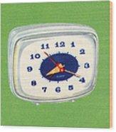 Vintage 1950s Alarm Clock Wood Print