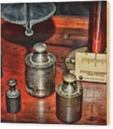Vintage Apothecary Pharmacist Weights And Scale Wood Print