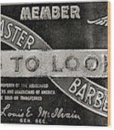 Vintage Associated Master Barber Sign Black And White Wood Print
