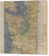 Vintage Auto Map Western Washington Olympic Peninsula Hand Painted Wood Print