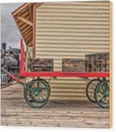 Vintage Baggage Cart Wood Print