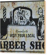 Vintage Barber Sign From The 1950s Wood Print