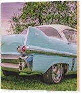 Vintage Blue Caddy American Vintage Car Wood Print