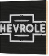 Vintage Chevrolet Neon Sign Wood Print