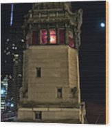 Vintage Chicago Bridge Tower At Night Wood Print