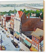 Vintage Color, Columbia Rooftops Wood Print