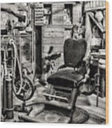 Vintage Dentist Office And Drill Black And White Wood Print