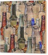 Vintage Glass Bottles Collage Wood Print