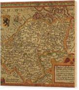 Vintage Map Of Belgium And Flanders Wood Print