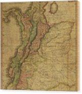 Vintage Map Of Columbia 1818 Wood Print