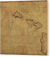 Vintage Map Of Hawaii 1837 Wood Print