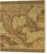 Vintage Map Of Mexico Wood Print