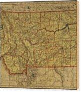 Vintage Map Of Montana Wood Print