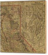 Vintage Map Of Northern California Wood Print