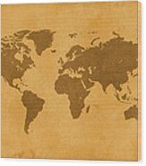 Vintage Map Of The World In Brown Wood Print