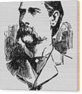 Vintage Newspaper Wyatt Earp Portrait 1896 - T-shirt Wood Print