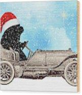 Vintage Santa Newf Holiday Card Wood Print