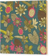 Vintage Seamless Tropical Flowers With Wood Print