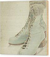 Vintage Teal Skates Wood Print