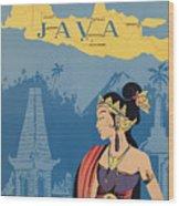 Vintage Travel Poster - Java Wood Print