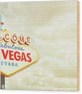 Vintage Welcome To Fabulous Las Vegas Wood Print