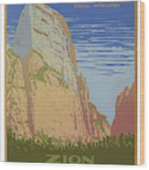 Vintage Zion Travel Poster Wood Print