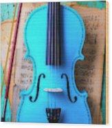 Violin Blues Wood Print