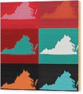 Virginia Pop Art Map Wood Print