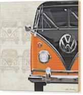 Volkswagen Type 2 - Black And Orange Volkswagen T1 Samba Bus Over Vintage Sketch  Wood Print