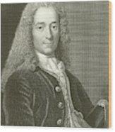 Voltaire Portrait, Engraving Wood Print