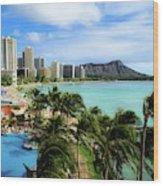 Waikiki Beach - Diamond Head Crater  Wood Print
