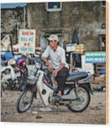 Waiting At The Fish Market, Hoi An, Vietnam Wood Print