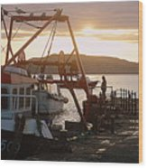 Waiting For The Boat Wood Print