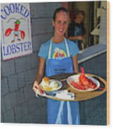 Waitress Serving Lobster  Wood Print