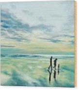 Walk At Sunset Wood Print