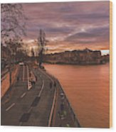 Walking Along The Seine At Sunset Wood Print