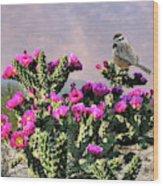 Walking Stick Cactus And Wren Wood Print