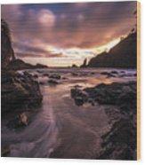Washington Coast Dusk Tide Motion Wood Print