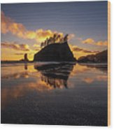 Washington Coast Weeping Lady Sunset Cloudscape Wood Print