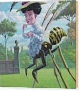 Wasp Woman Insect Drinking Tea Fantasy Wood Print