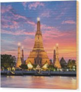 Wat Arun Night View Temple In Bangkok Wood Print