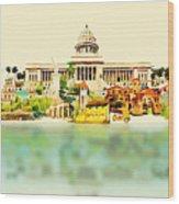 Water Color Vector Panoramic Cuba Wood Print