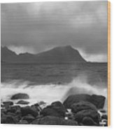 Water Hits The Coastline During Storm Wood Print