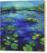 Water Lilies Story Impressionistic Impasto Palette Knife Oil Painting Mona Edulesco Wood Print